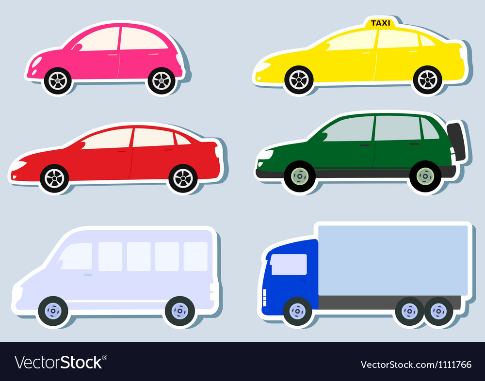 Transport set with colorful cars silhouette vector | Price: 1 Credit (USD $1)