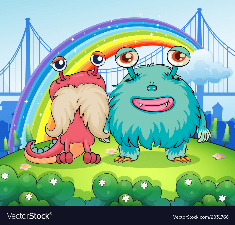 Two weird monsters and a rainbow in the sky vector | Price: 1 Credit (USD $1)