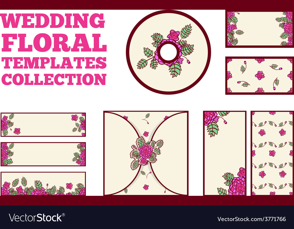 Wedding floral template collection vector | Price: 1 Credit (USD $1)