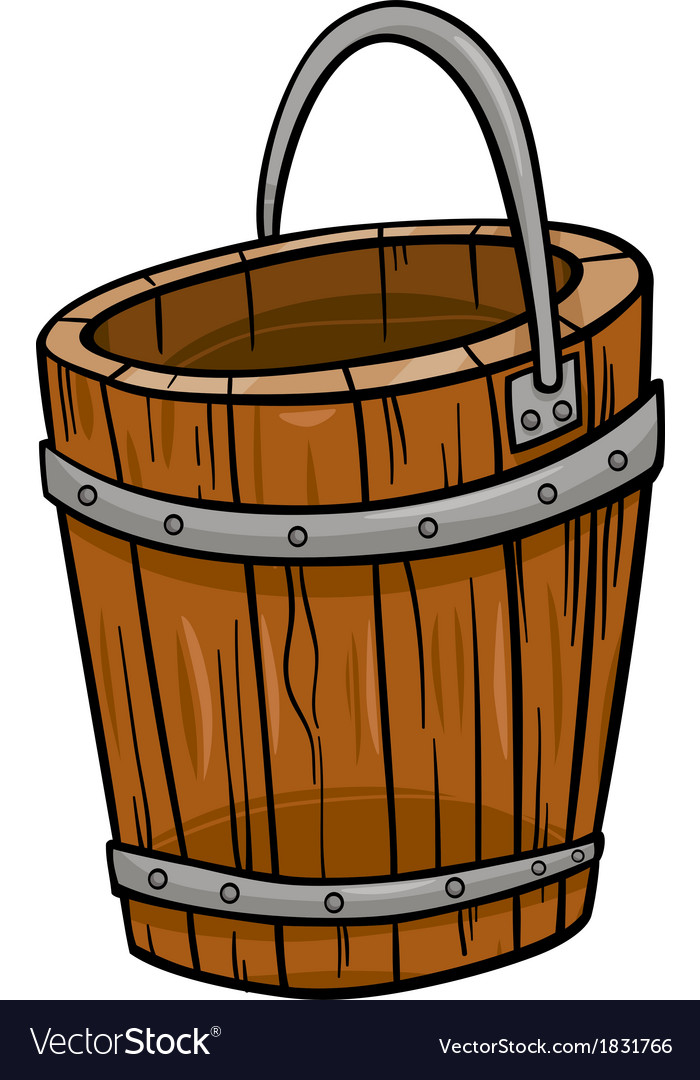 Wooden bucket retro cartoon clip art vector | Price: 1 Credit (USD $1)