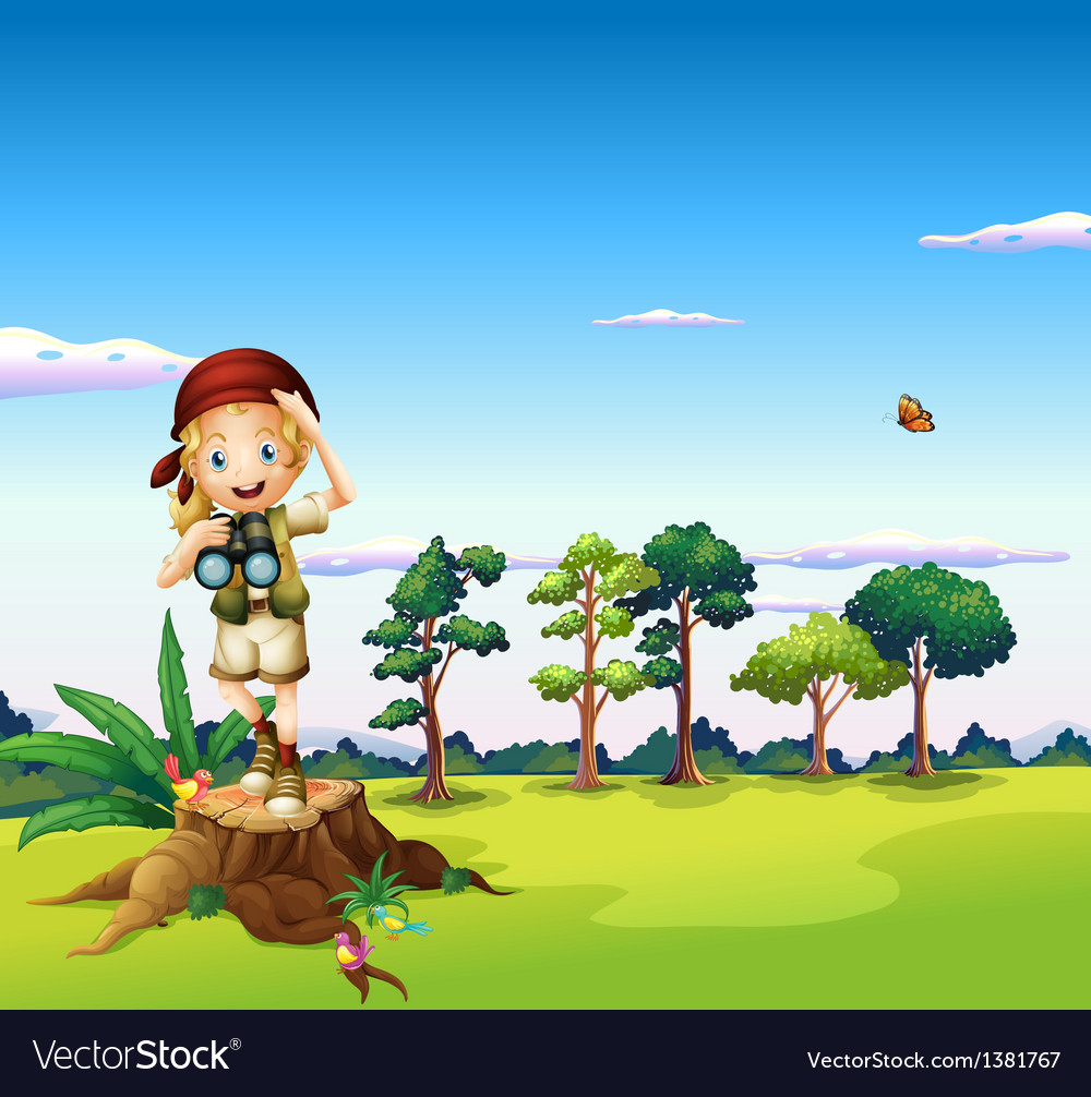 A girl with a telescope standing above a stump vector | Price: 1 Credit (USD $1)