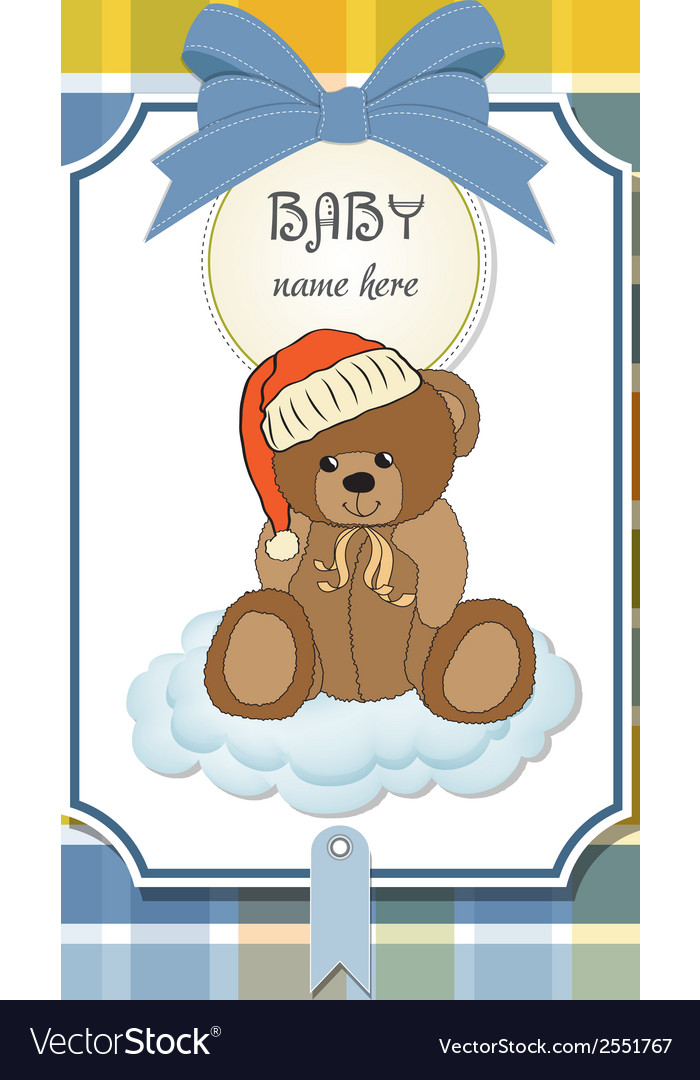 Baby shower card with sleepy teddy bear vector | Price: 1 Credit (USD $1)