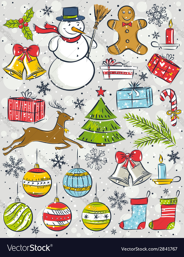 Background with christmas elements vector | Price: 1 Credit (USD $1)