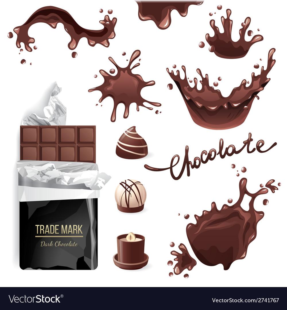 Chocolate splashes set vector | Price: 1 Credit (USD $1)