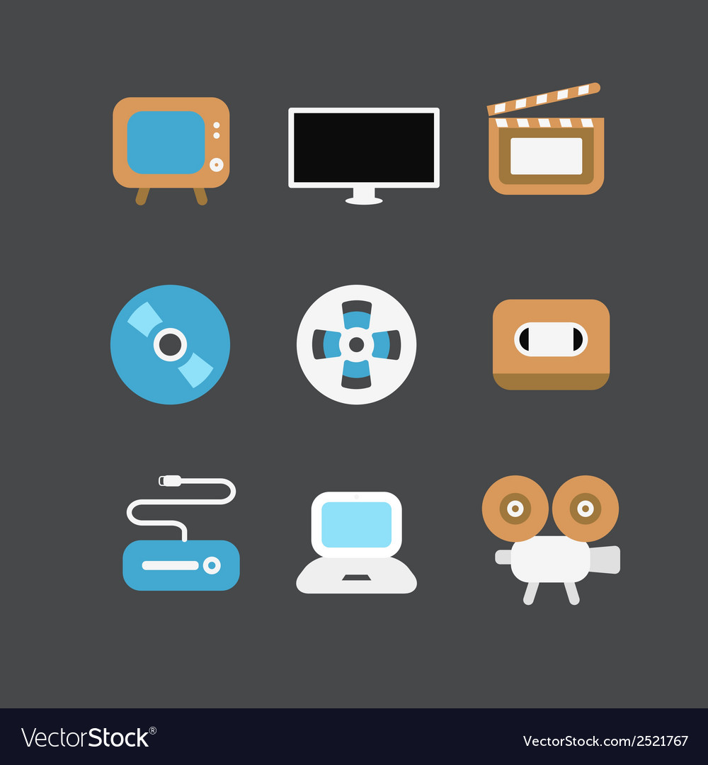 Cinematograph icons vector | Price: 1 Credit (USD $1)