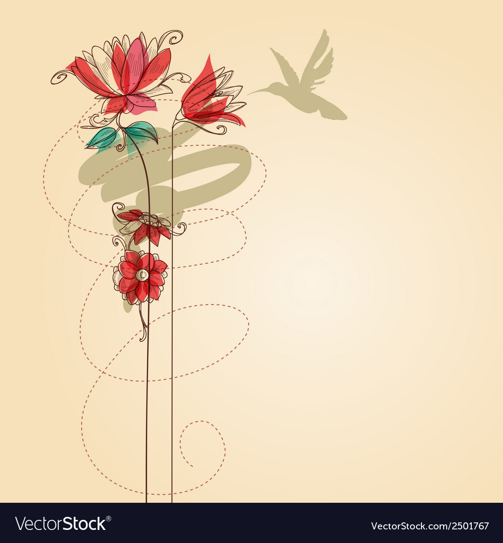 Flowers and colibri vector | Price: 1 Credit (USD $1)