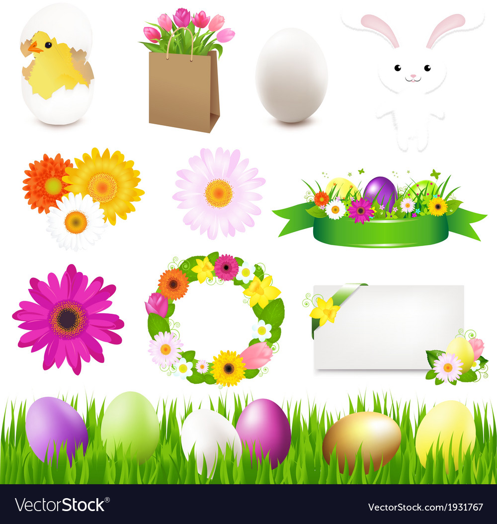 Happy easter icons and green grass vector | Price: 1 Credit (USD $1)