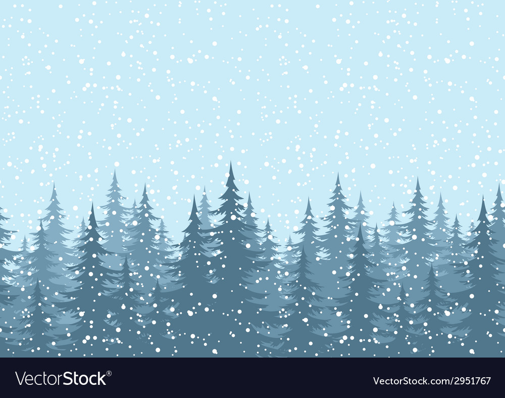 Seamless background christmas trees with snow vector | Price: 1 Credit (USD $1)