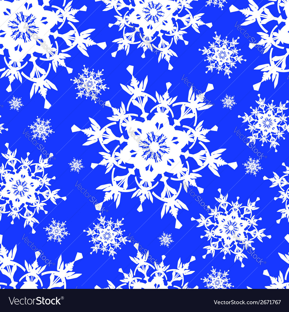 Seamless pattern blue with snowflakes vector | Price: 1 Credit (USD $1)