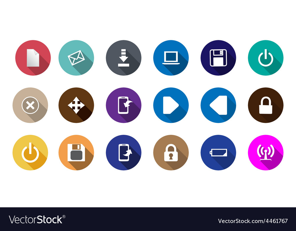Set of computer icons in a flat design vector | Price: 1 Credit (USD $1)