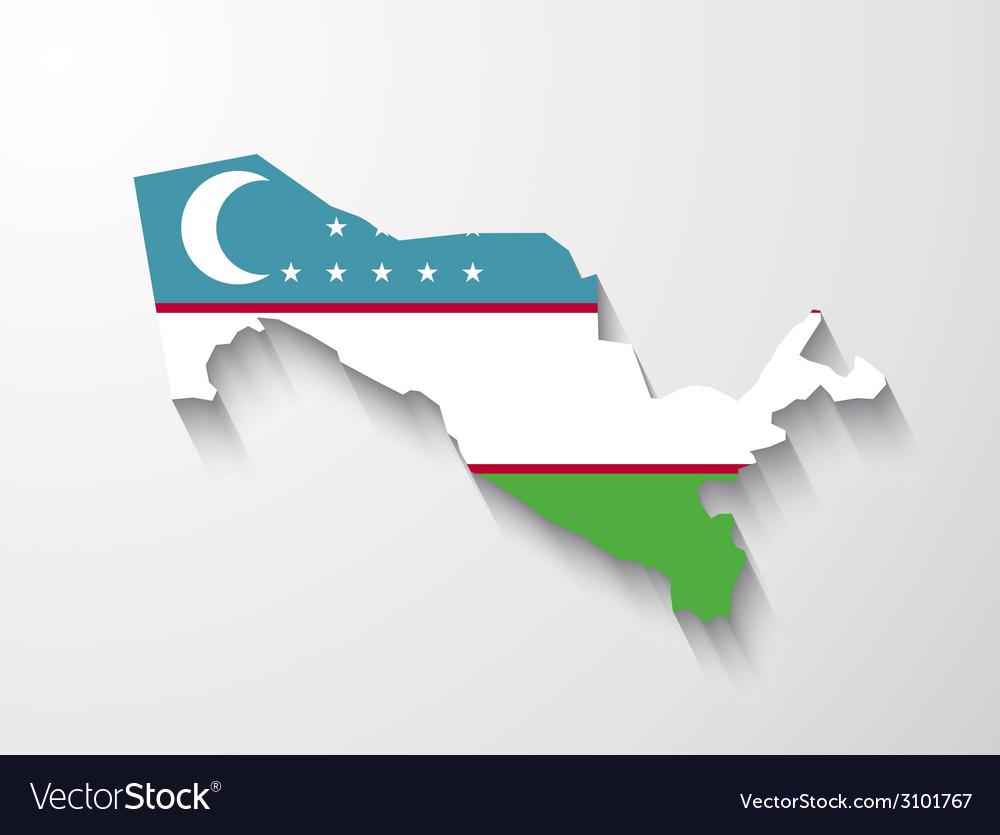 Uzbekistan map with shadow effect vector | Price: 1 Credit (USD $1)