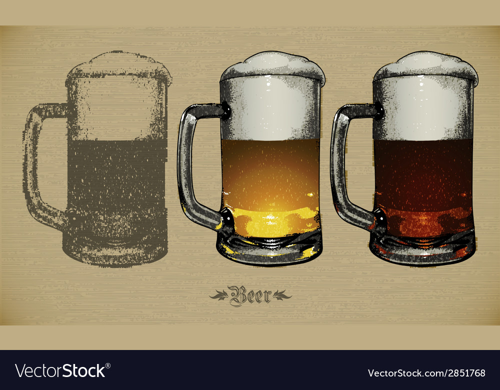 Beer glasses vector | Price: 1 Credit (USD $1)