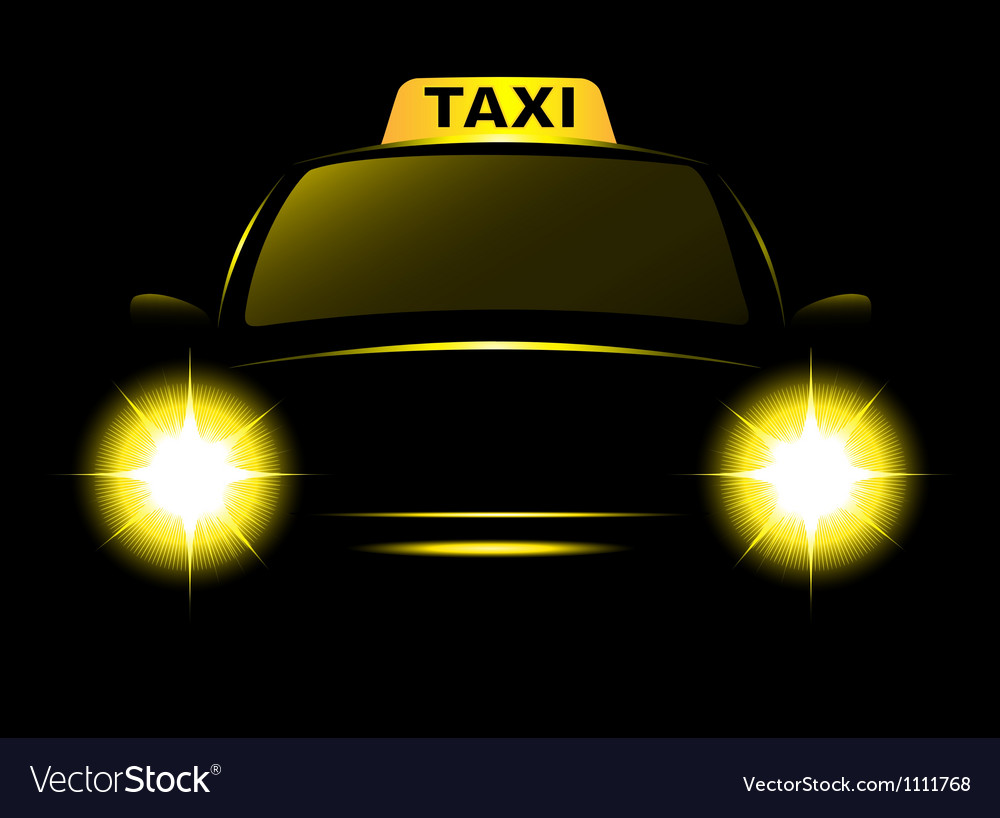 Dark cab silhouette with taxi sign vector | Price: 1 Credit (USD $1)