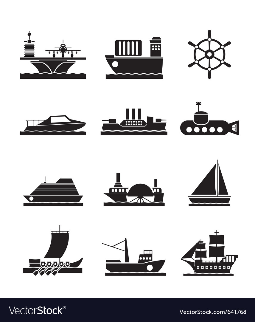 Different types of boat and ship icons vector | Price: 1 Credit (USD $1)