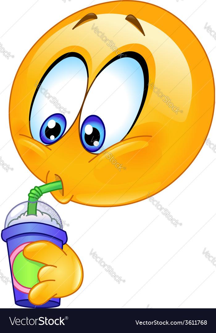 Drinking soda emoticon vector | Price: 1 Credit (USD $1)