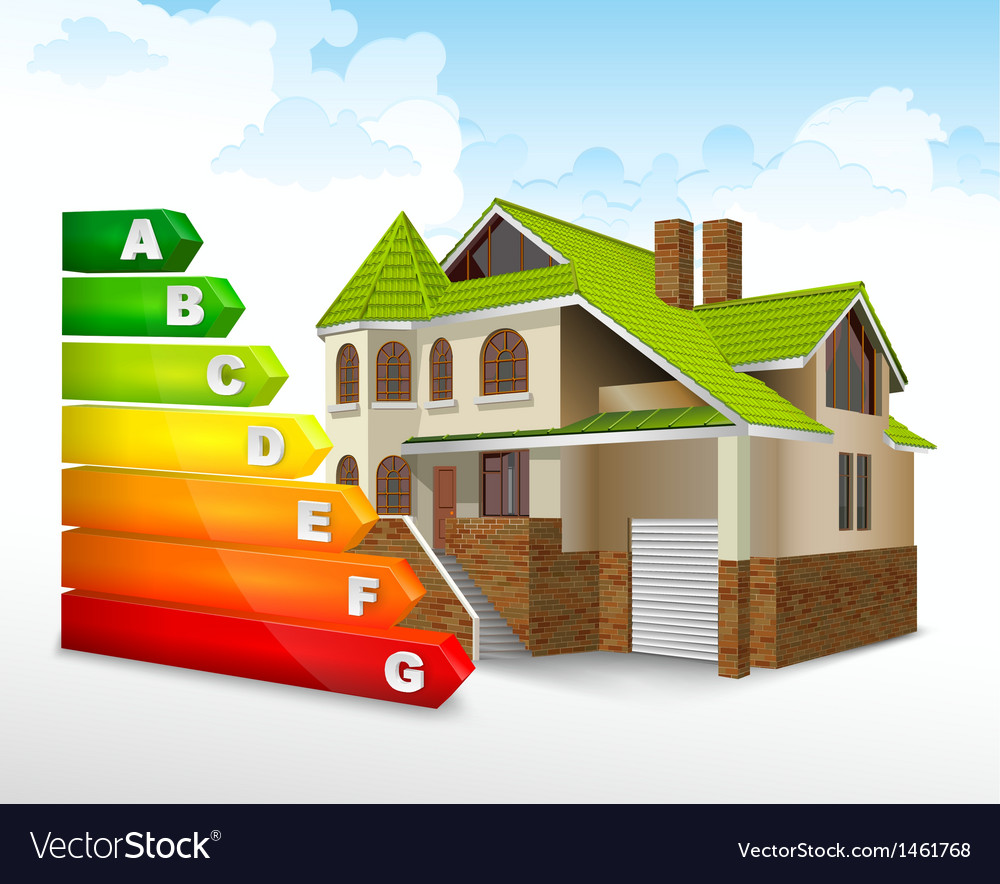 Energy efficiency rating with big house vector | Price: 3 Credit (USD $3)