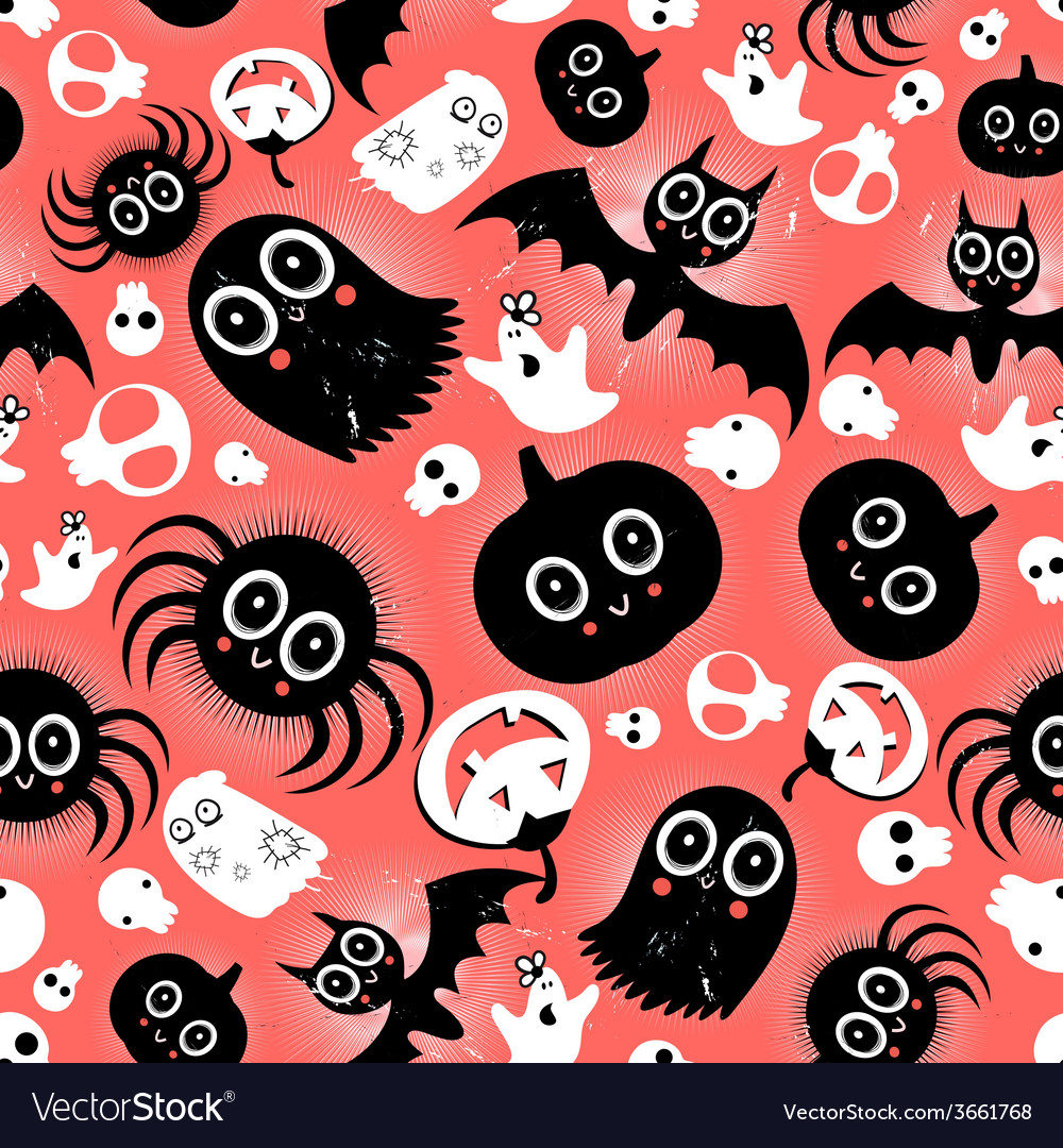 Funny halloween monster pattern vector | Price: 1 Credit (USD $1)