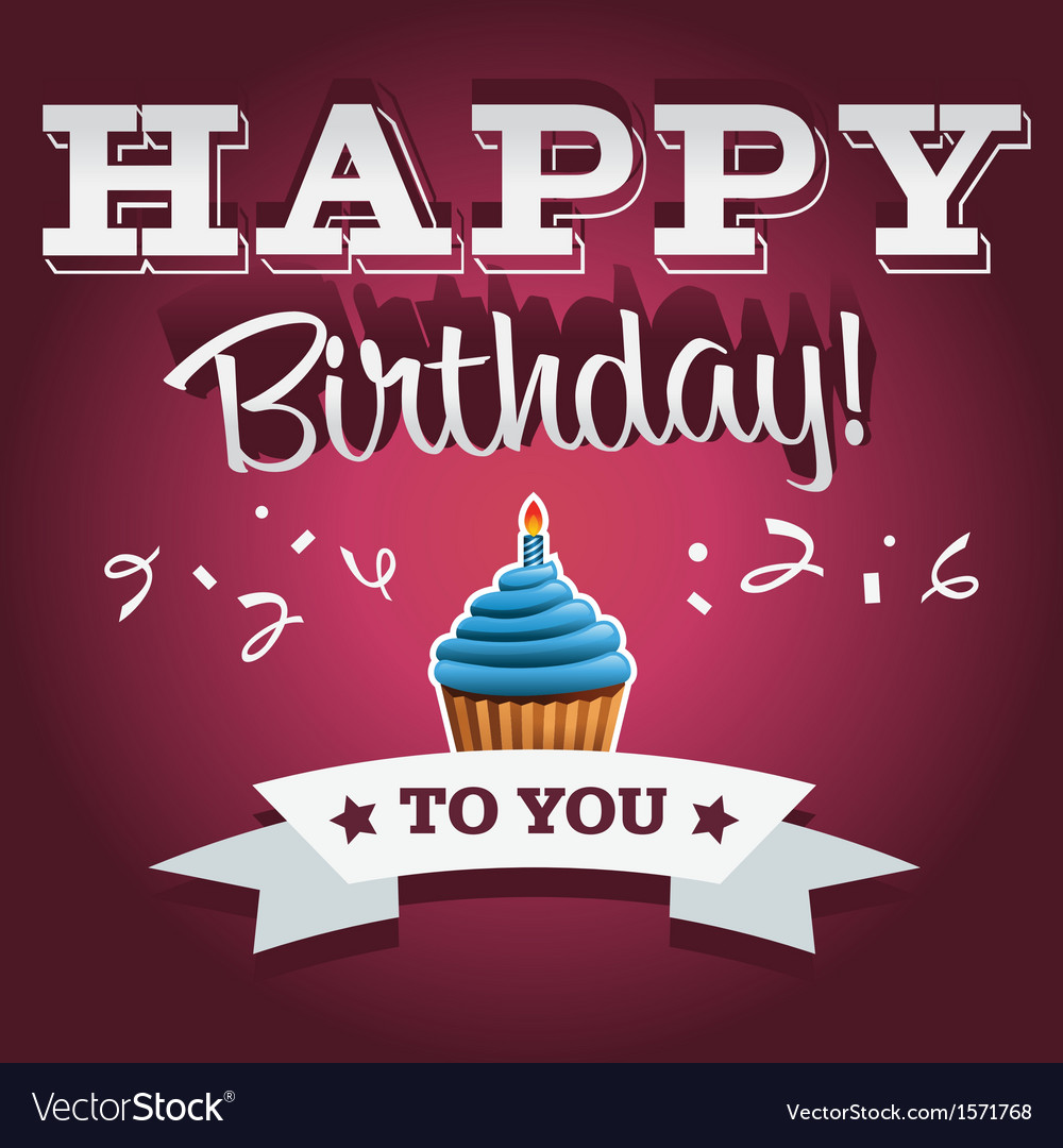 Happy birthday invitation greeting card vector | Price: 1 Credit (USD $1)