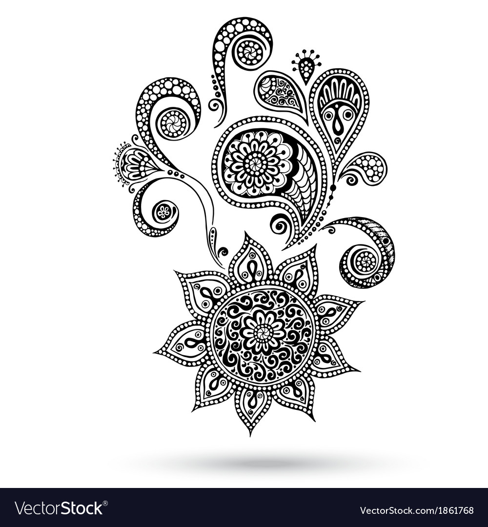 Henna flowers and paisley mehndi tattoo doodles vector | Price: 1 Credit (USD $1)