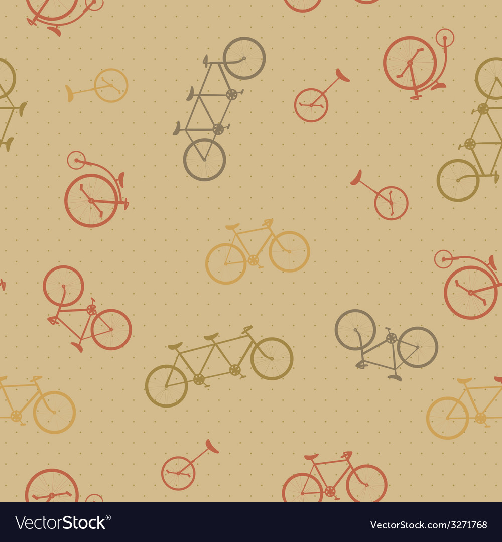 Retro bicycle pattern hipster background vector | Price: 1 Credit (USD $1)