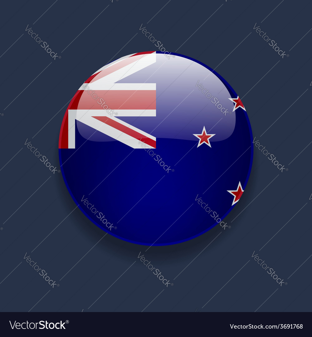 Round icon with flag of new zealand vector | Price: 1 Credit (USD $1)