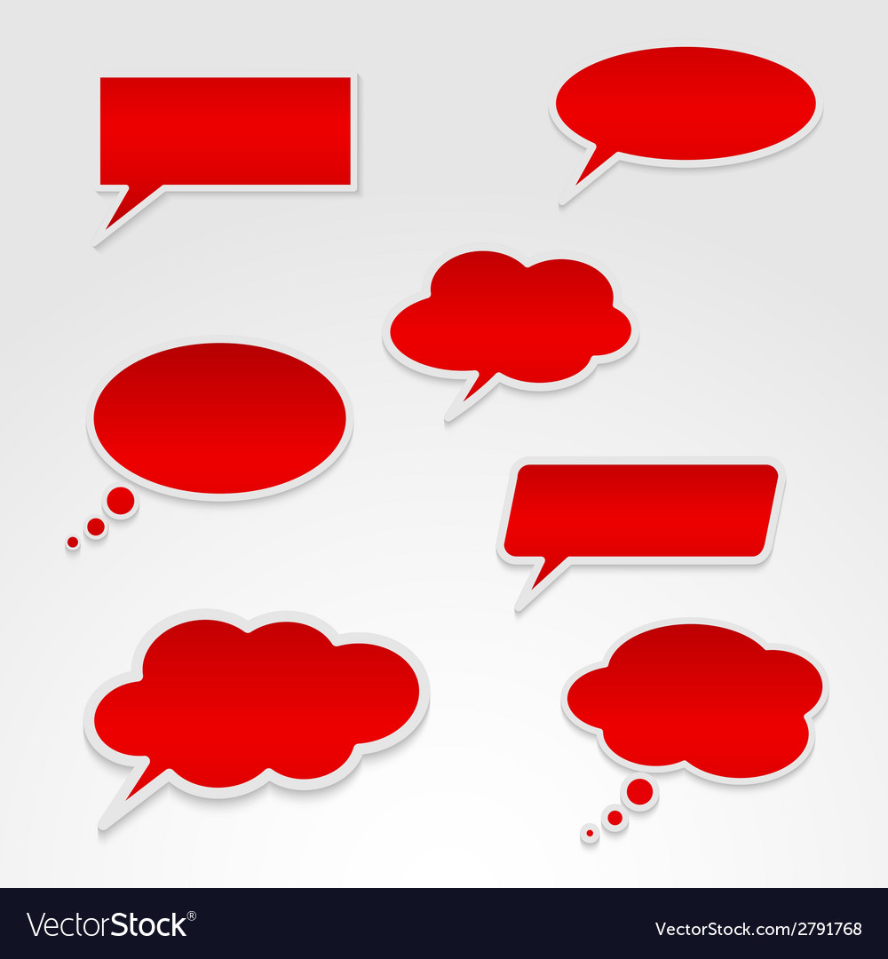 Set of various red speech bubbles vector | Price: 1 Credit (USD $1)