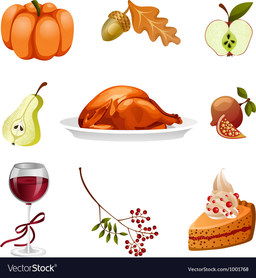 Thanksgiving elements isolated vector | Price: 1 Credit (USD $1)