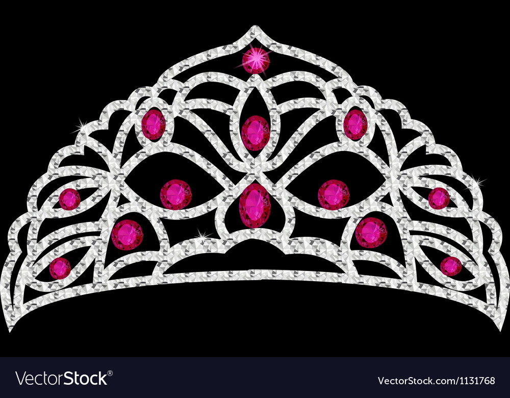Tiara crown womens wedding with red stones vector | Price: 1 Credit (USD $1)
