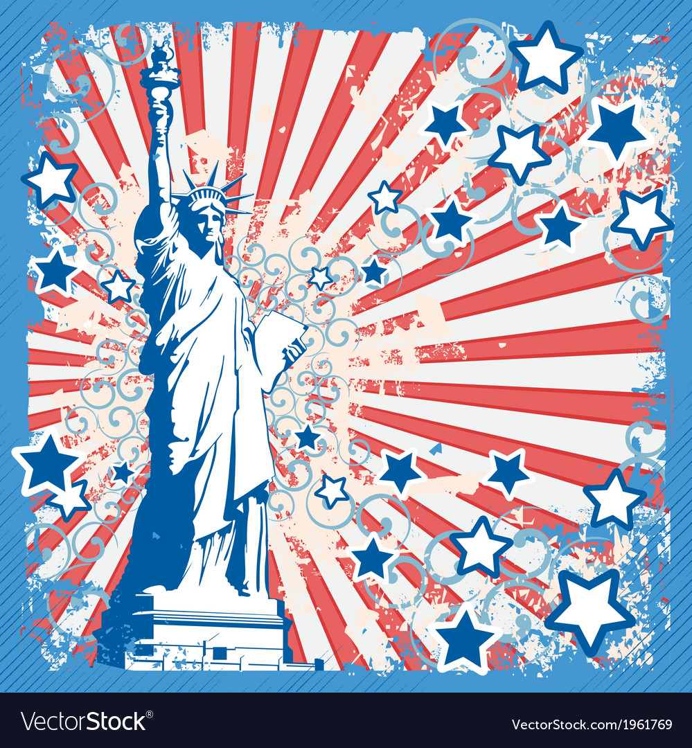 American background with statue of liberty vector   Price: 1 Credit (USD $1)