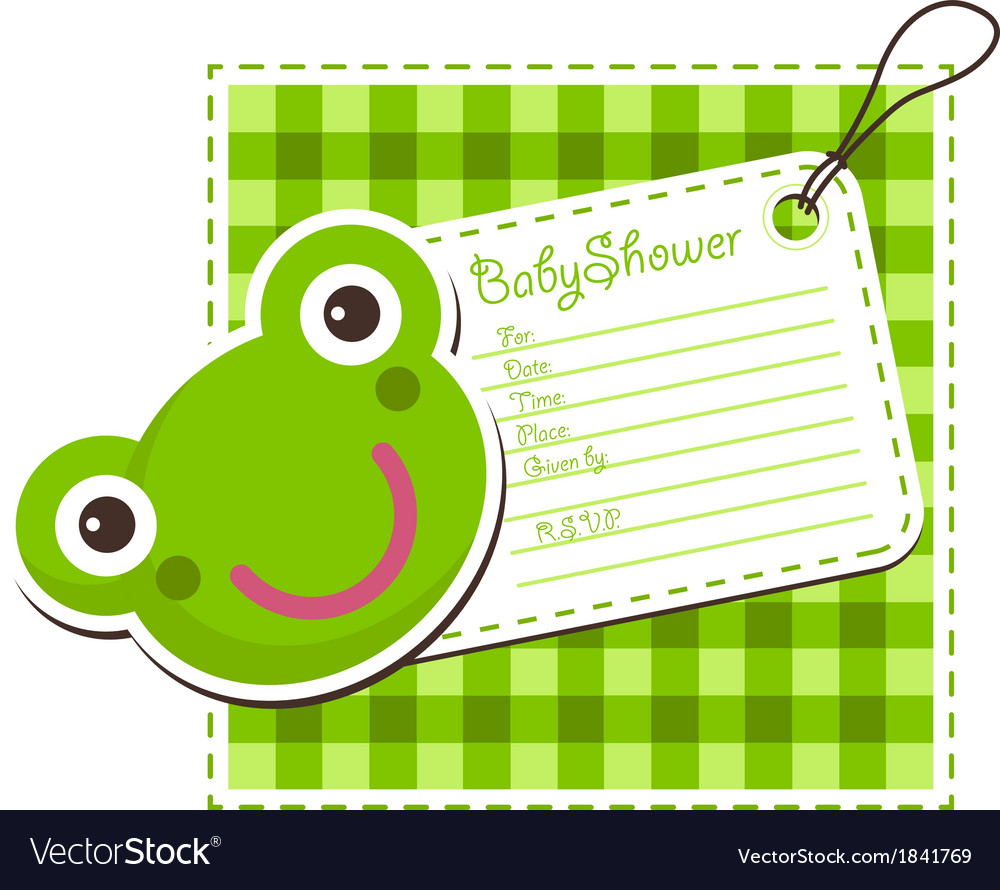 Baby shower frog invitation card vector | Price: 1 Credit (USD $1)