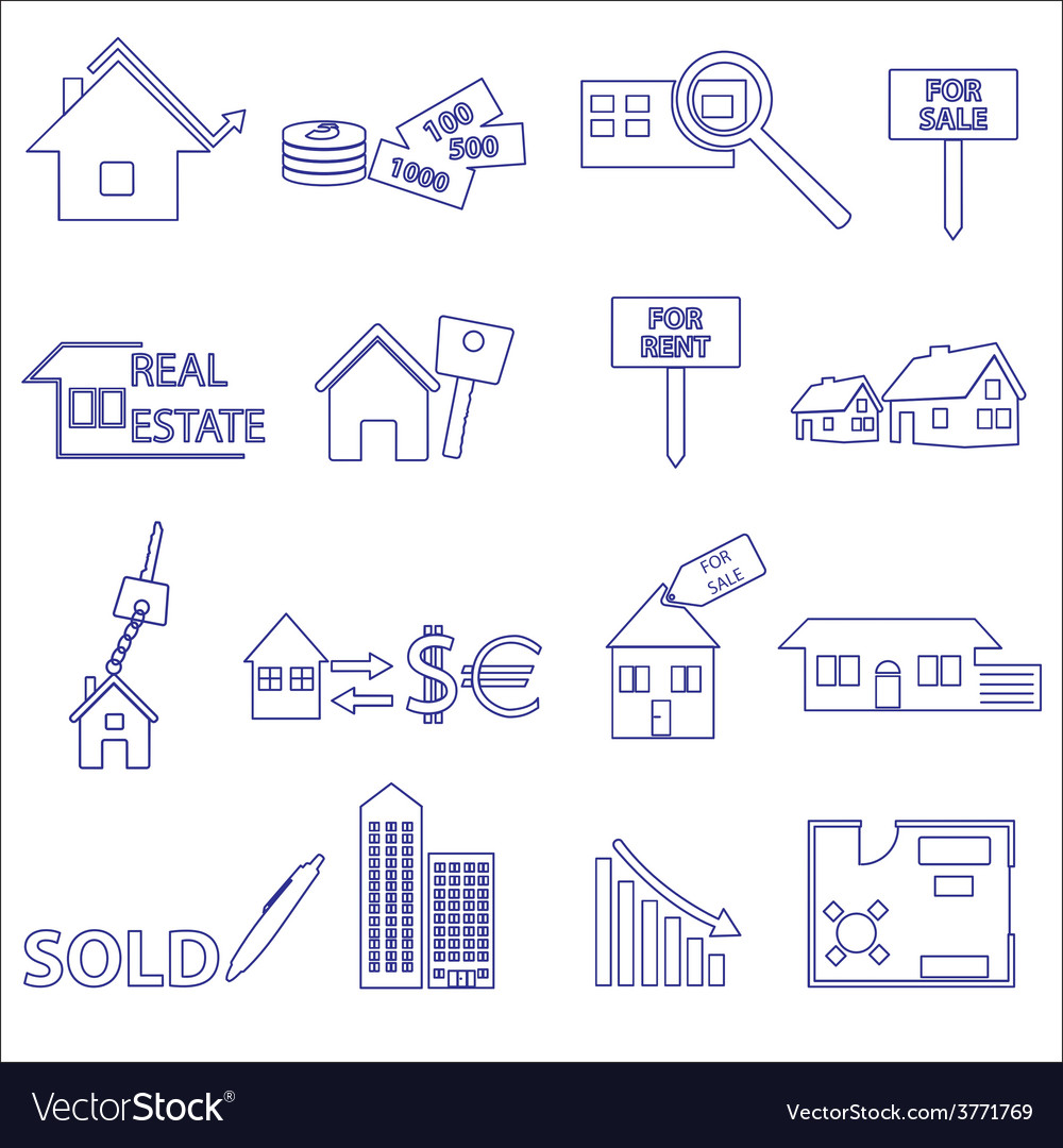 Blue real estate outline icons and symbols set vector | Price: 1 Credit (USD $1)