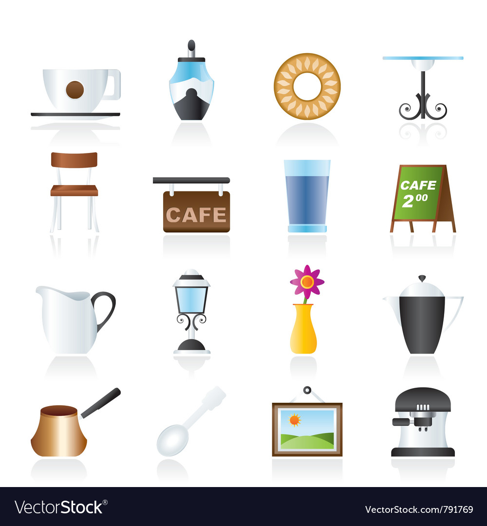 Cafe and coffeehouse icons vector | Price: 3 Credit (USD $3)