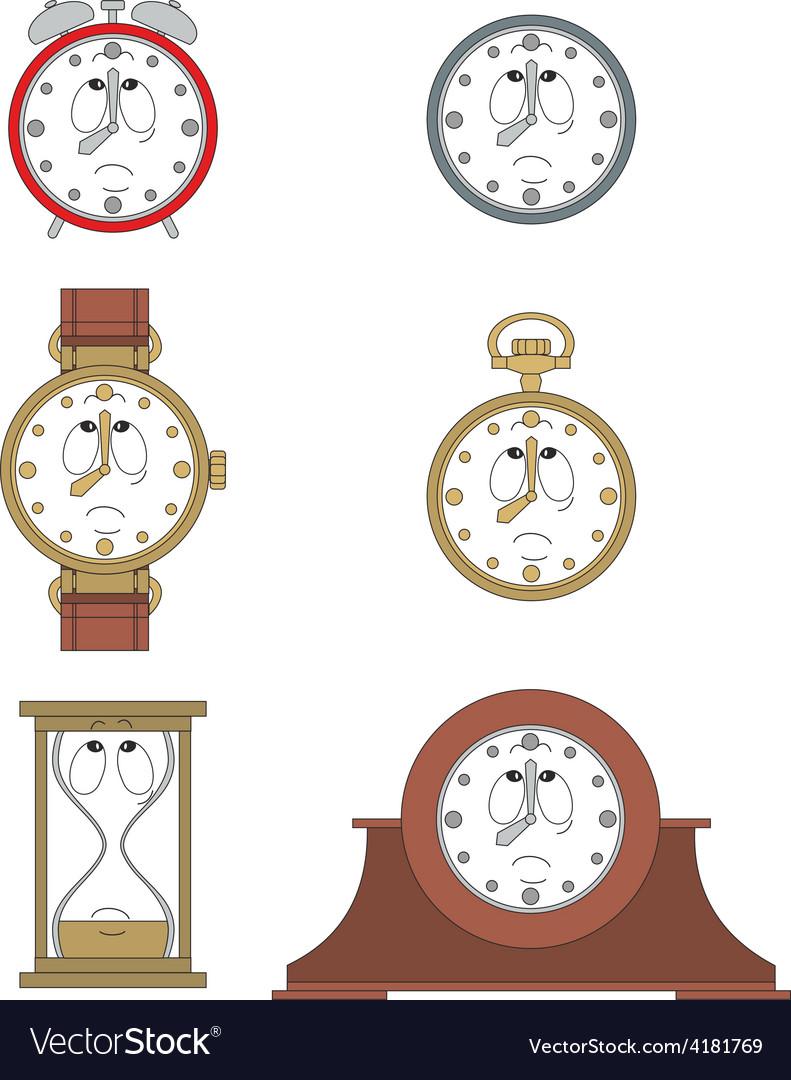 Cartoon unhappy clock face smiles 08 vector | Price: 1 Credit (USD $1)