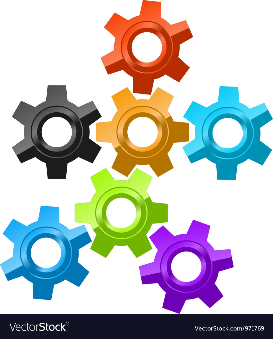 Colorful gear icons vector | Price: 1 Credit (USD $1)