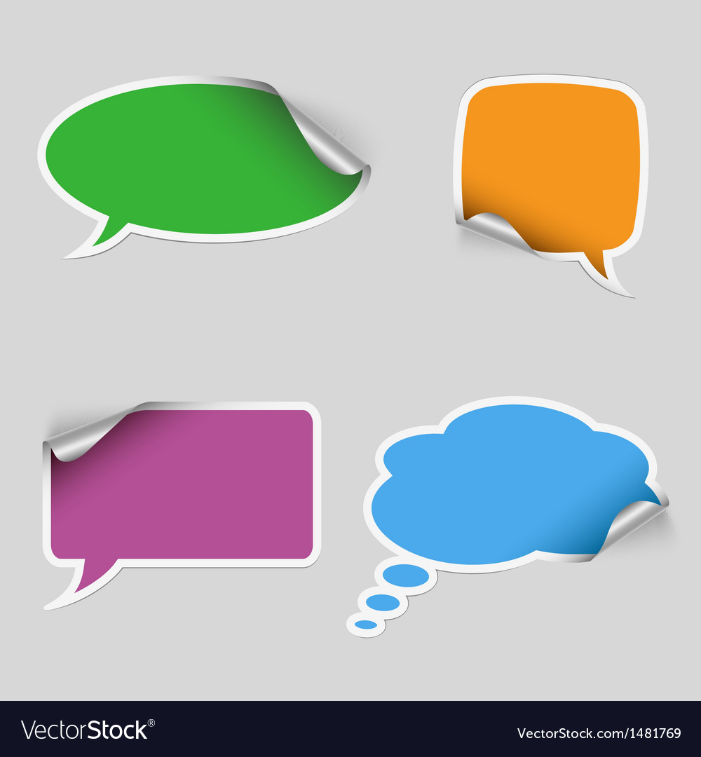 Colorful stickers dialog bubble vector | Price: 1 Credit (USD $1)