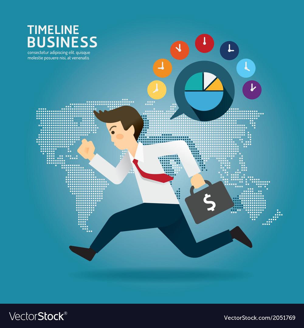 Concept of successful timeline businessman cartoon vector | Price: 1 Credit (USD $1)