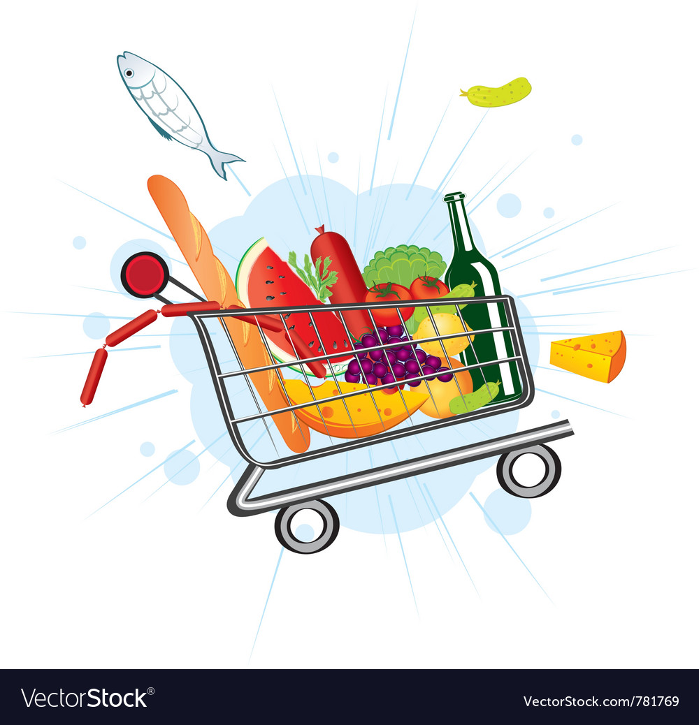Flying trolley at the supermarket vector | Price: 3 Credit (USD $3)
