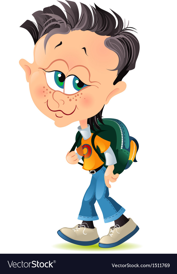 Isolated cartoon little boy with school backpack vector | Price: 1 Credit (USD $1)