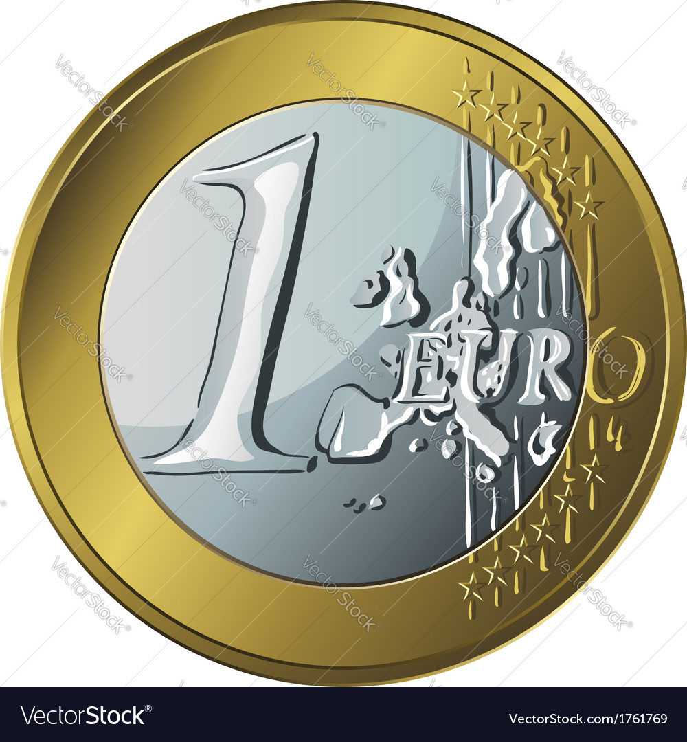 Money gold coin euro vector | Price: 1 Credit (USD $1)