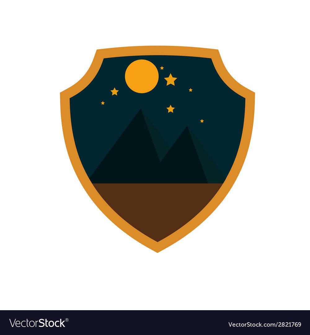 Mountain adventure night badge vector | Price: 1 Credit (USD $1)