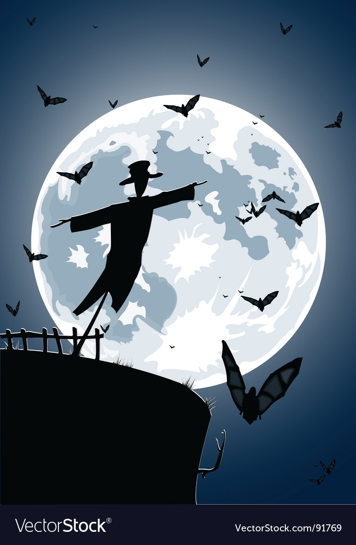 Scarecrow with full moon vector | Price: 1 Credit (USD $1)