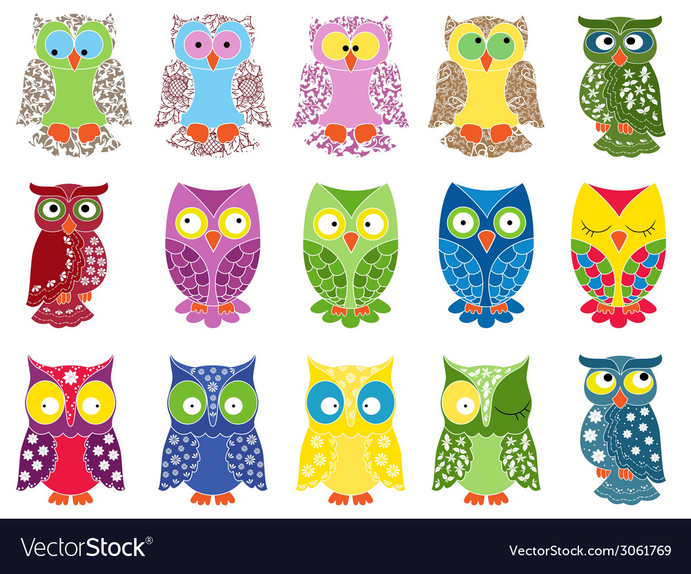 Set of fifteen colourful owls vector | Price: 1 Credit (USD $1)