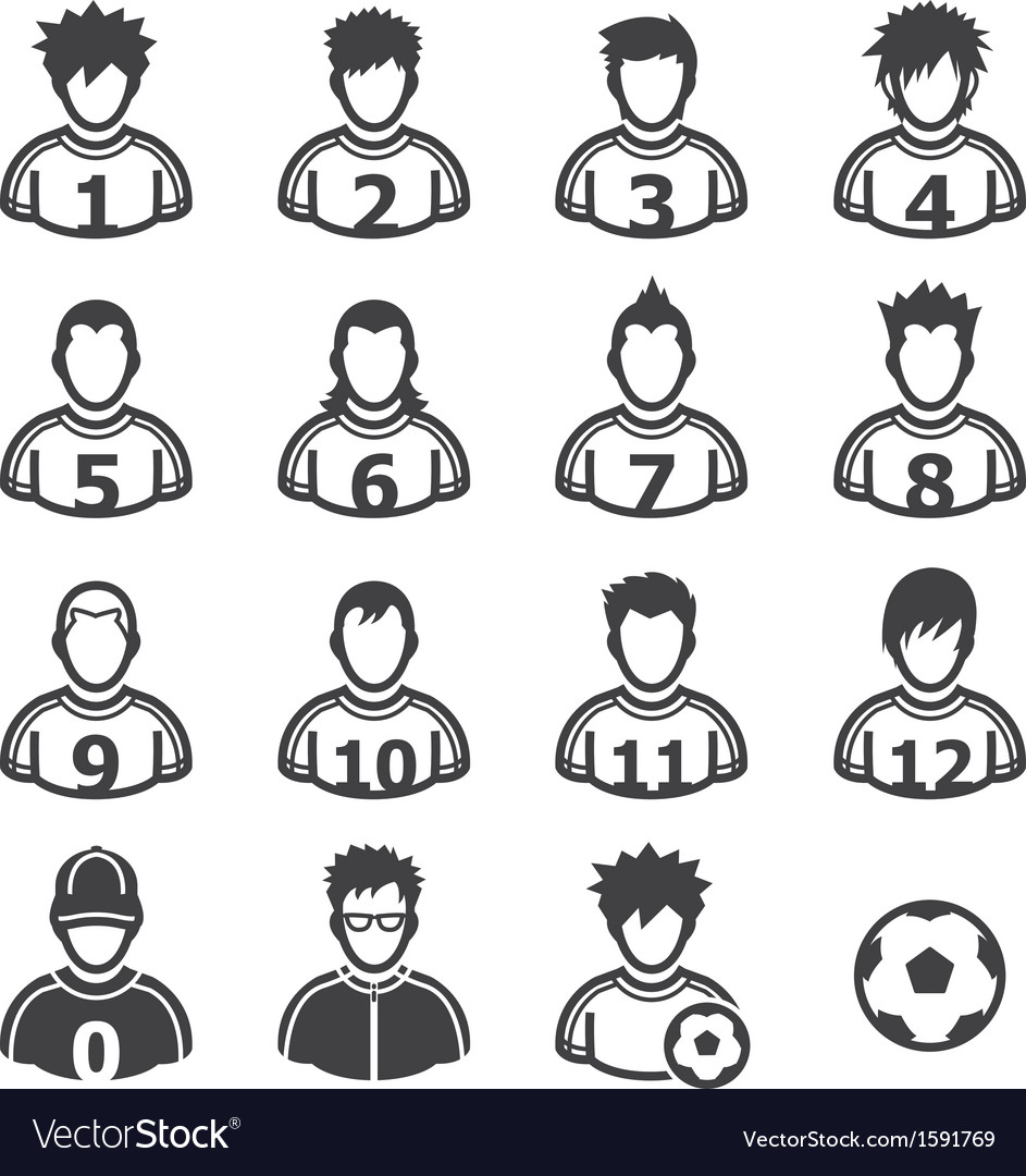 Soccer player icons vector | Price: 1 Credit (USD $1)