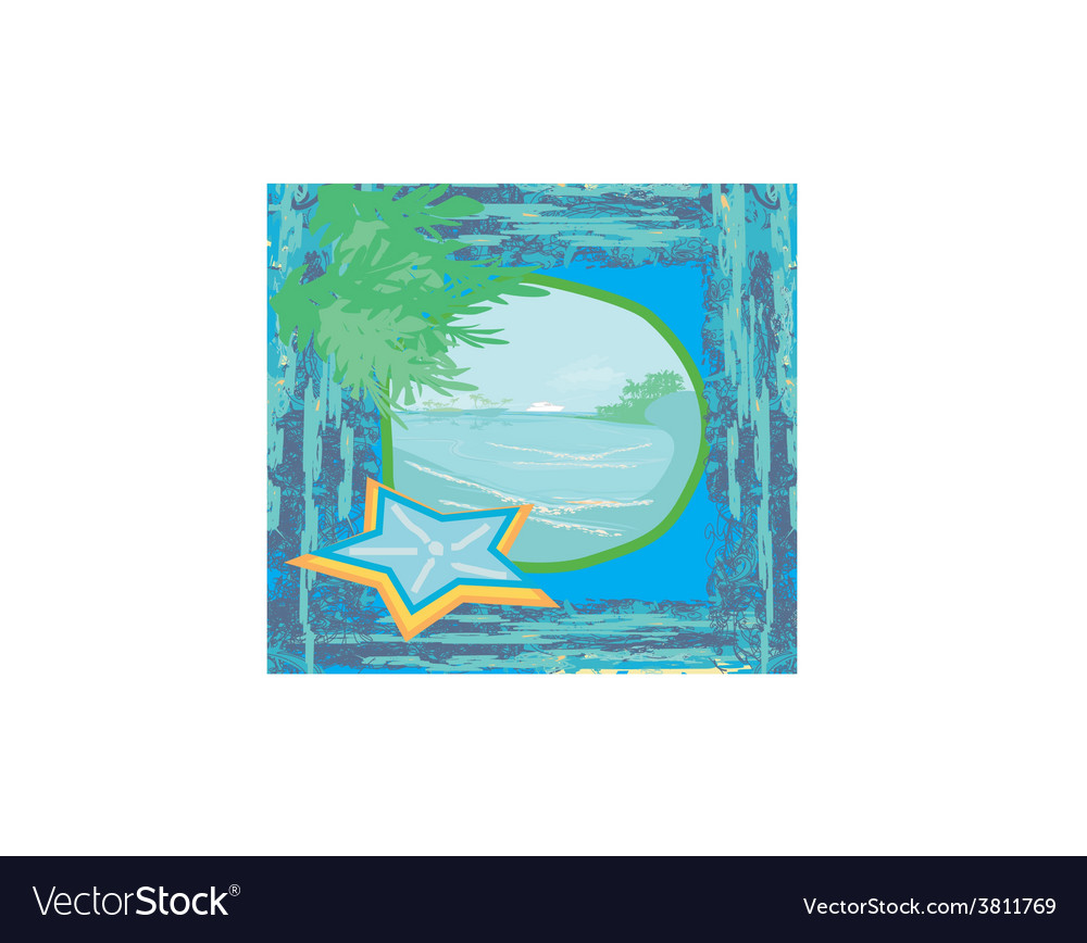 Tropical beach landscape - abstract grunge vector | Price: 1 Credit (USD $1)