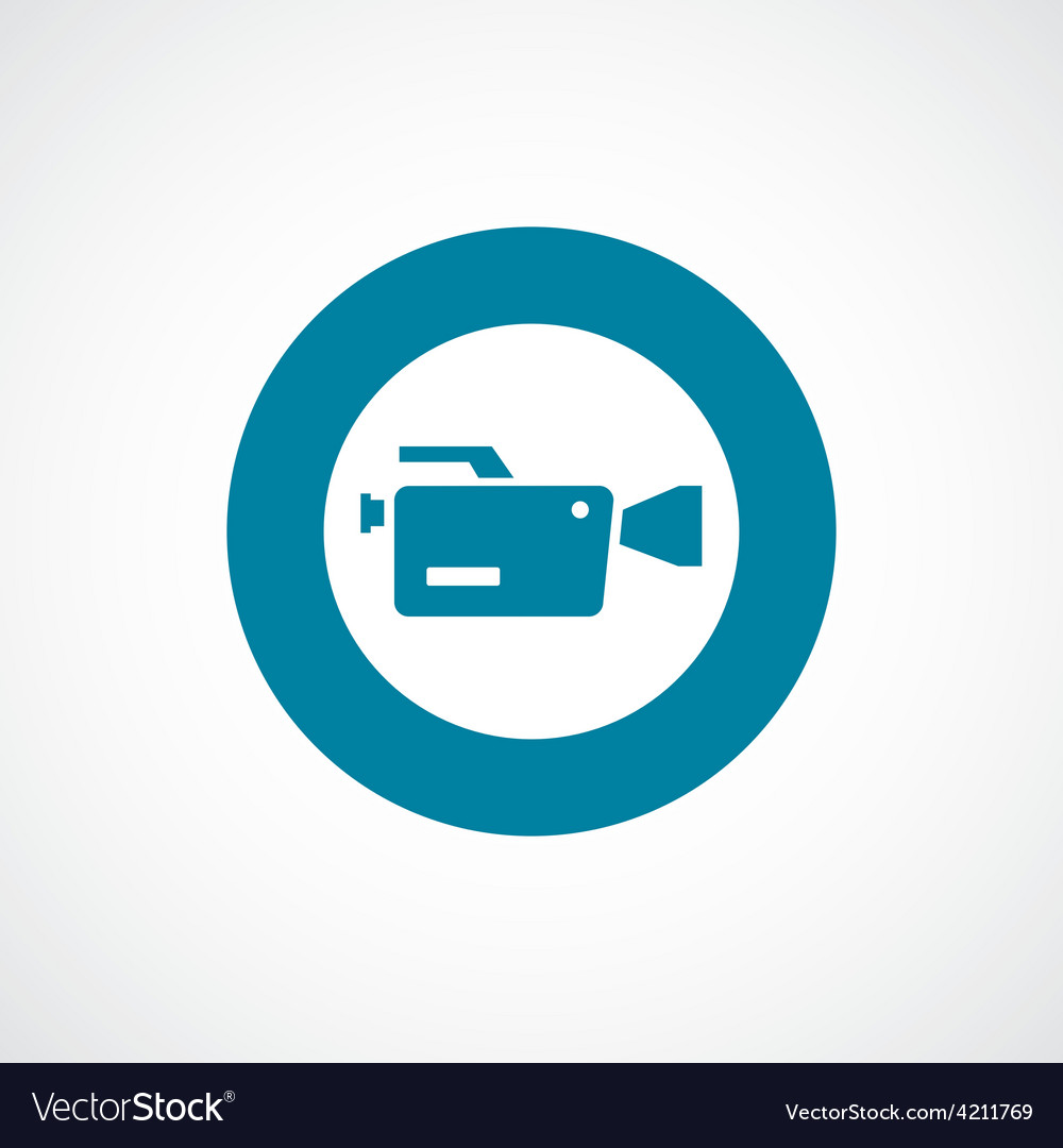 Video camera icon bold blue circle border vector | Price: 1 Credit (USD $1)