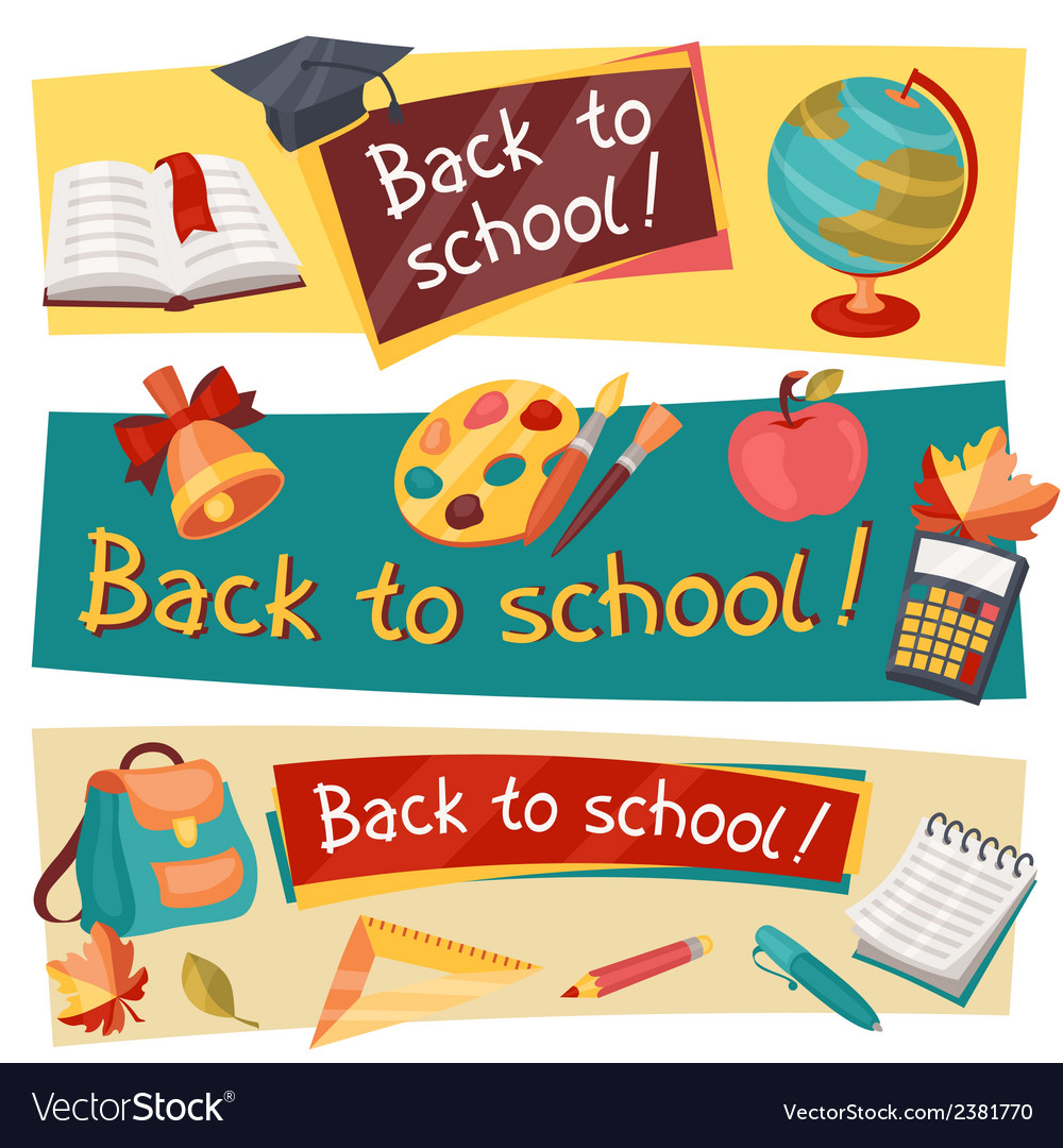 Back to school horizontal banners with education vector | Price: 1 Credit (USD $1)