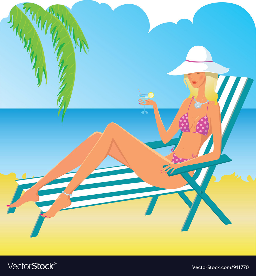 Beautiful relaxing girl on the beach vector | Price: 3 Credit (USD $3)
