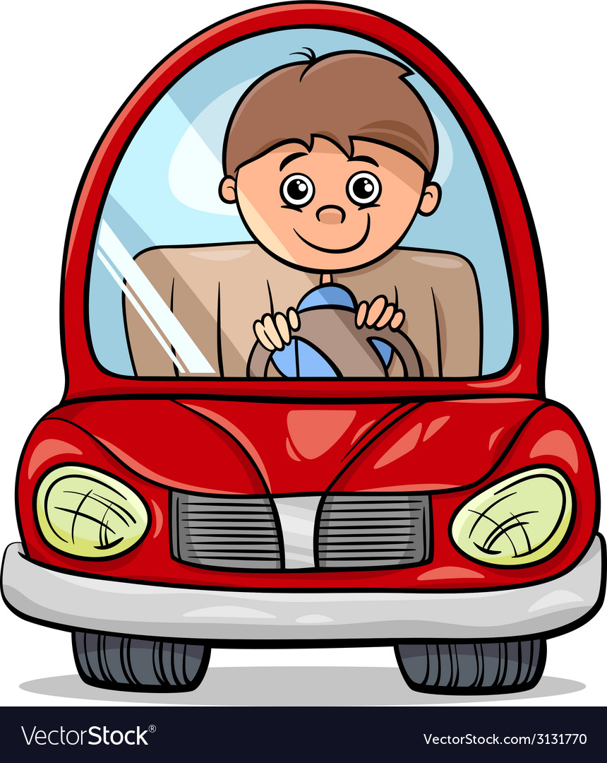 Boy in car cartoon vector | Price: 1 Credit (USD $1)