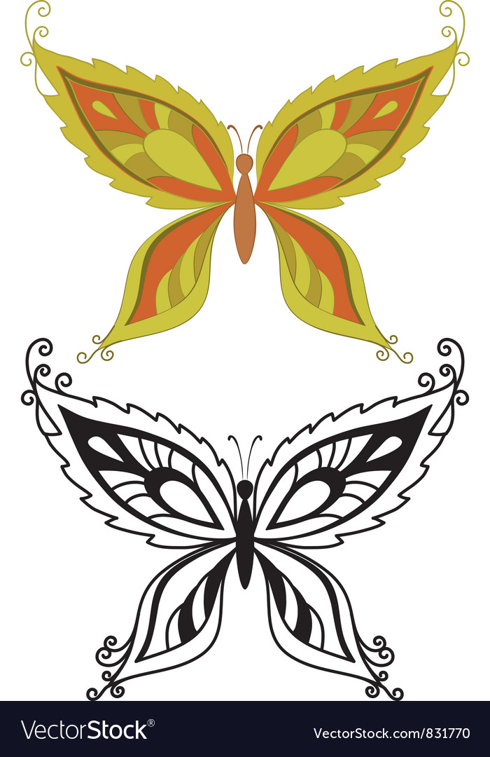 Butterflies with abstract pattern vector | Price: 1 Credit (USD $1)
