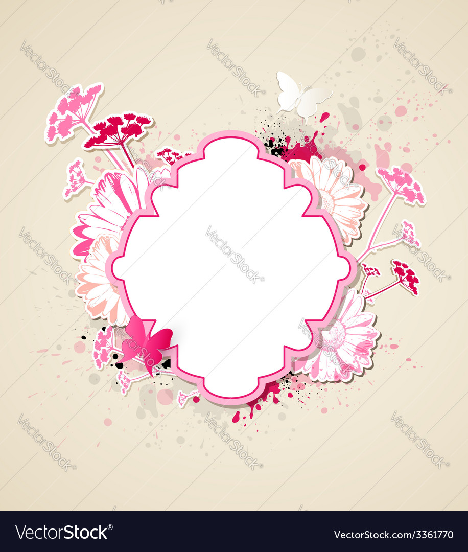 Decorative background with pink flowers vector | Price: 1 Credit (USD $1)